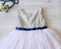 silver and royal blue flower u0027s dress silver white