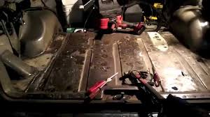 89 cherokee mig welding diy rear cargo floor pan patches youtube