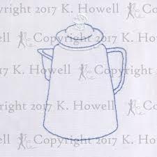 Coffee Embroidery Pattern Vintage Percolator Joe Pot Maker