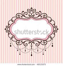 Chandelier Vintage Border Frame On Pink Stripe Background
