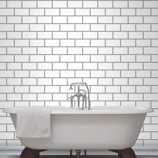 Metallic Tile Effect Wallpaper by Tile Effect Wallpaper For Bathrooms