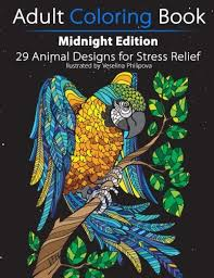Adult Coloring Book Midnight Edition 29 Animal Designs For Stress Relief Unibul Press Books