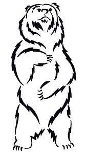 Amazing Black Outline Bear Tattoo Stencil