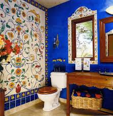Terrible Decoration Of Eclectic Bathroom With Faux Tile Wall Decor In Flowery Design Beside Modern Toilet Also Traditional Vanity Made Wooden