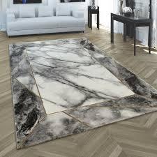 teppich wohnzimmer kurzflor marmor design bordüre geometrisch grau gold grösse 160x230 cm