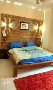 Pallet Bed Frame by Diy Pallet Bed With Wall Headboard Lamps U0026 Shelf