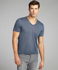 john varvatos blue linen v neck t shirt bluefly com