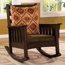 Solid Wood Rocking Chair With Cushion And Throw Pillow