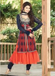 Nice Red And Black Party Wear Dress For Girls 2014