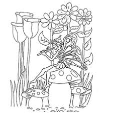 Fairy Perched Sitting On Mushroom And Playing Flute Three Flying Fairies Coloring Pages Printable