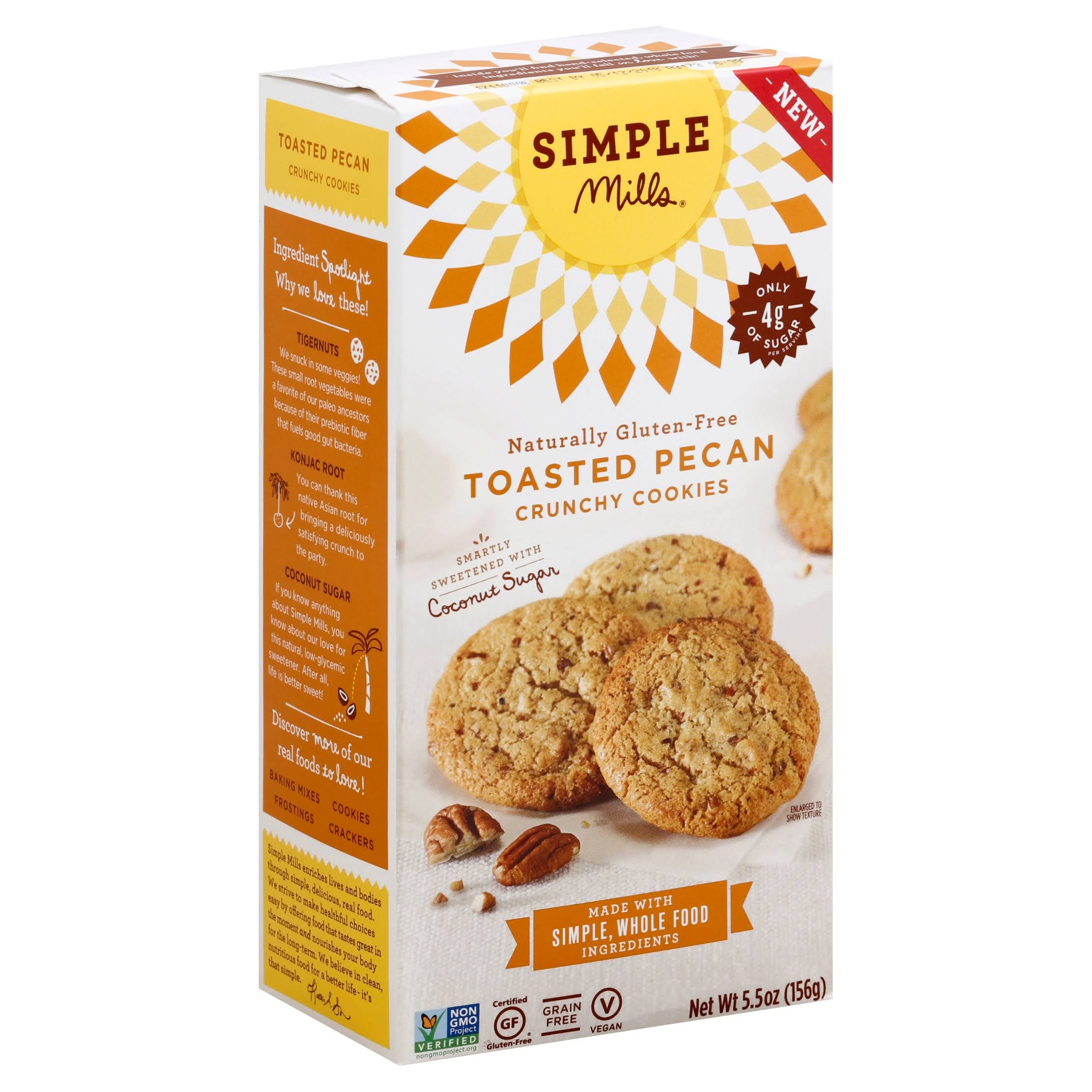 Simple Mills Cookies, Crunchy, Chocolate Chip - 5.5 oz