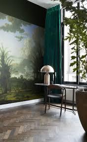 wohnzimmer fototapete tropische landschaft grün blau und senfgrün 357234