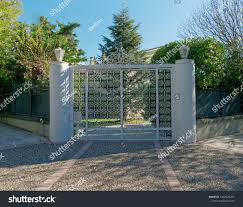 100 Contemporary Gate Suburbs House Metallic Entrance Stock