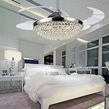 COLORLED Crystal LED Ceiling Fans Light 42 Inch With Transparent Acrylic 4 Blades Modern Fan