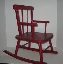 Antique Primitive Childs Rocking Chair Wood Original Red ...