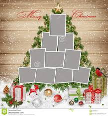 Frames For Family Christmas Decorations And Gifts On Wooden Background