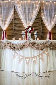Burlap Themed Wedding Cakes Decorated Reception Decorations Red Roses Lights Backdrop Curtains