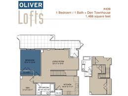for the Two Bedroom Townhouse plus Den floor plan