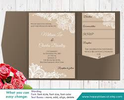 DiY Printable Pocket Wedding Invitation Template SET Instant Download EDITABLE TEXT Rustic Burlap Lace
