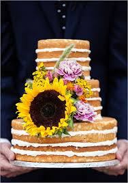 Large Sunflower Topped Naked Wedding Cake