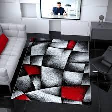 designer teppich wohnzimmer grau rot modern dicht gewebt mit konturenschnitt i9445 vimoda homestyle