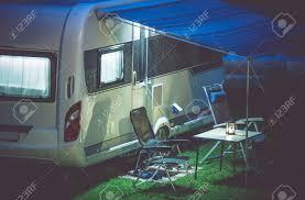 100 Modern Travel Trailer Camping Romantic Setup Stock