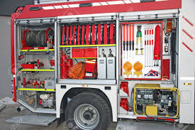 Emergency Equipment Inside Fire Truck Stock Photo, Picture And ...