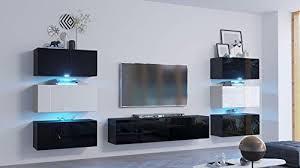 modernes wohnzimmer wohnwand led beleuchtung blau in