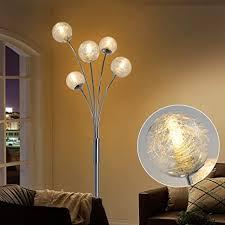 depuley led stehleuchte wohnzimmer mit glas kugel modern stehle schlafzimmer mit fußschalter augenschutz 110 240v standleuchte 5 flammig für