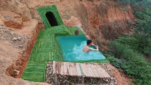 100 Infinity Swimming Amazing Dig To Build Underground House And Infinity Swimming Pool On The Cliff