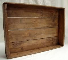 Antique Large Flat Wooden Crate Loading Zoom