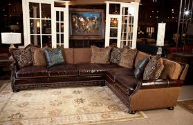 Fabric And Leather Sectional Sofa Great For Media Room All Pillows Are Included