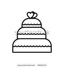 wedding cake vector line icon sign illustration on background editable strokes