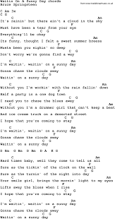Song Lyrics With Guitar Chords For Waitin' On A Sunny Day Killing Time Clint Black Song Lyrics Pinterest Music Lyrics The Fairly Oddparents Theme Odd Parents Wiki Fandom Shawntaylortunescomlyrics Folk Songs With Alisha Gabriel Free Educational Toddler Learning Videos Online Fun Beyonce Knowles Stop Sign Pdf 12lyrics South African Ice Cream Truck Youtube Songbook Suzi Shelton Ukule Chords Rock New Love Song For Give Me E Reason Tracy 5 Little Pumpkins Sitting On A Gate