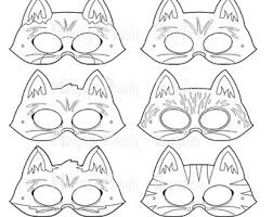 Cats Printable Coloring Masks Cat Kitty Mask Kitten Feline