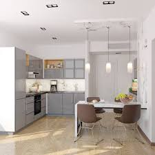 Modern Kitchen Interior Design And Visualization 19m2 On