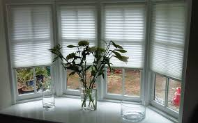 House Bay Window Using Tensioned White Blinds