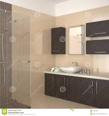 modernes badezimmer mit dunkler hölzerner ausrüstung stock
