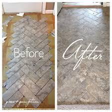 Armstrong Groutable Vinyl Tile by Diy Herringbone Peel N Stick Tile Floor Before And After By Grace