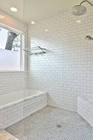 marvelous white subway tiles with showerhead glass shower