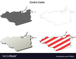 Contra Costa County California Outline Map Set Vector Image