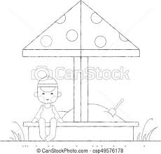 Boy Playing In The Sandbox Outline