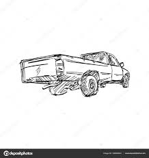 100 Truck Pick Up Lines Rear View Of Pickup Truck Vector Illustration Sketch Hand Drawn