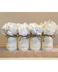 Ivory Mason Jars For Wedding Baby Shower Centerpieces Distressed