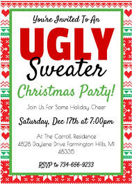 Ugly Sweater Christmas Party Invitation Template Holiday Invite Work