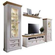 weiße wohnzimmer wohnwand elvelina im modernen landhausstil 4 teilig