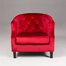 ON SALE Seriena Vienna Red Velvet Accent Chair Tufted Back Barrel Curved  Back