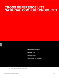 Cross reference list national fort products by