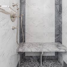 grey mosaic marble shower floor tiles transitional bathroom