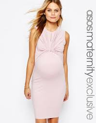image 1 of asos maternity twist knot front sleeveless bodycon